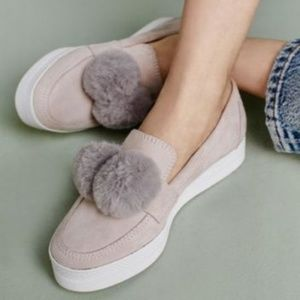 Anthropologie Suede Pom Pom sneakers slip on shoes